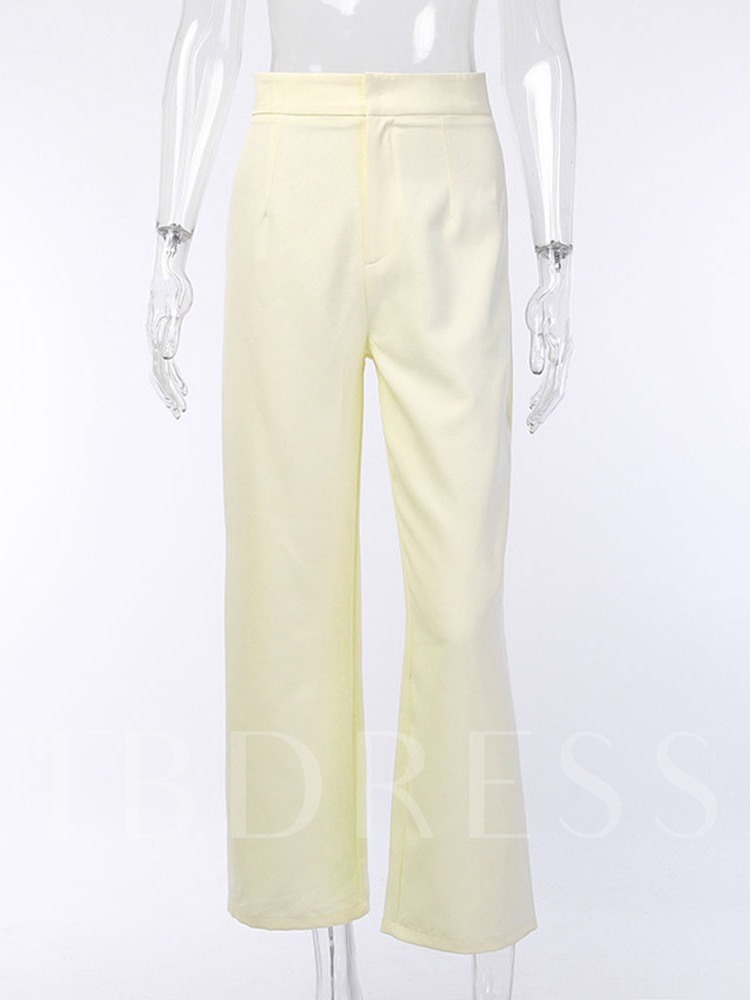 Loose Plain Zipper Mid Waist Women's Casual Pants