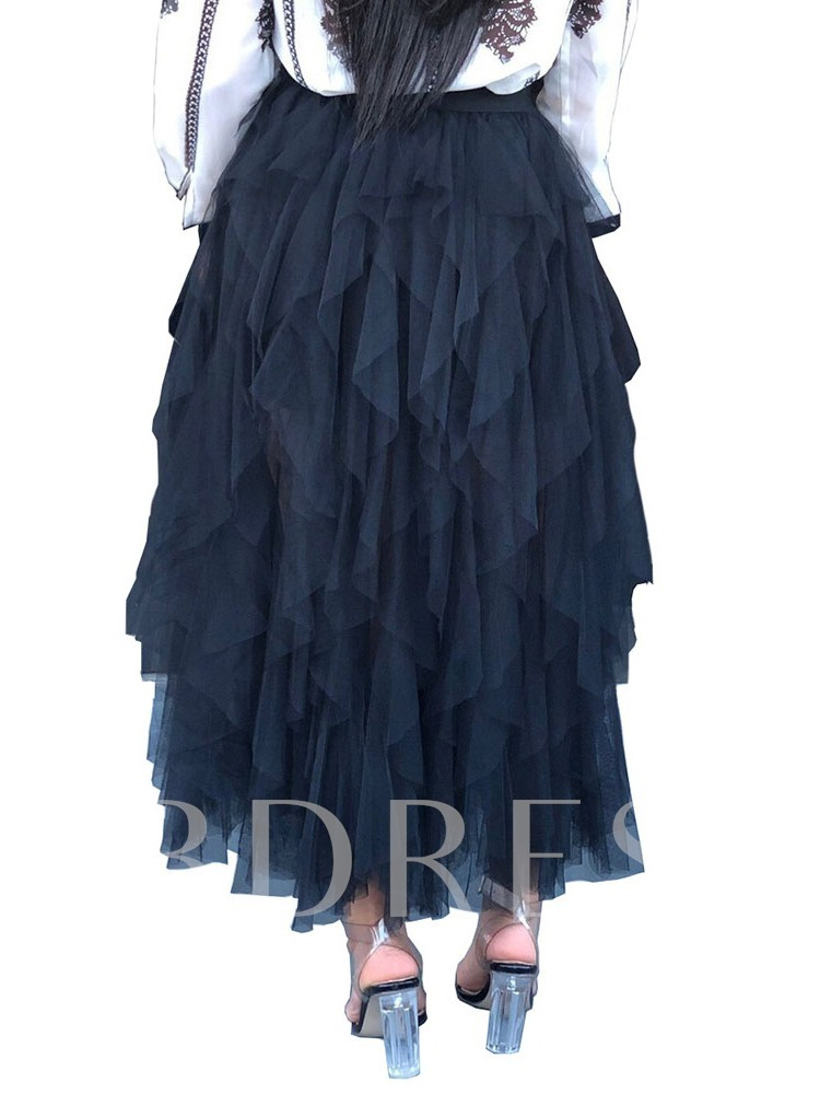 Cupcake Skirts Mesh Ankle-Length Plain Western Women's Skirt