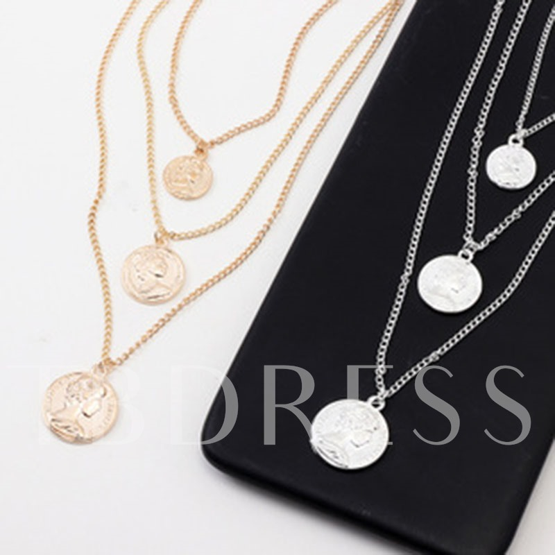 Golden Coin Alloy Link Chain Pendant Necklace