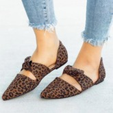 Leopard Print Pointed Toe Flat With Slip-On Casual Flats