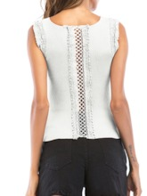 Lace Back Hollow Plain Women's Tank