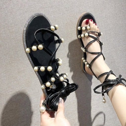 Toe Ring Ankle Strap Block Heel Lace-Up Women's Sandals
