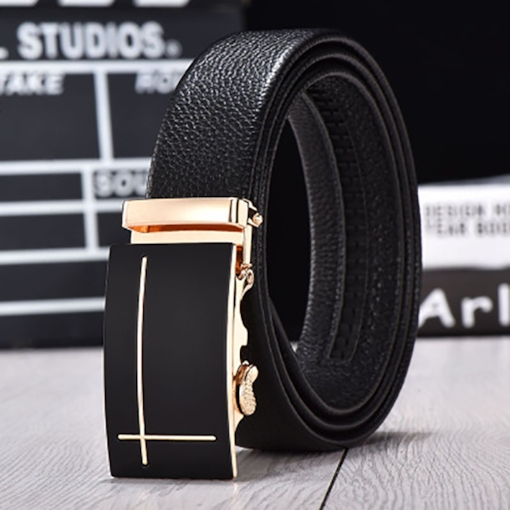 Trendy Cross Design Automatic Buckle Men's Belt