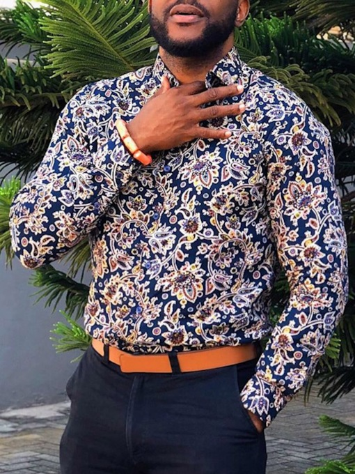 African Fashion Lapel Print Floral Fashion Single-Breasted Men's Shirt