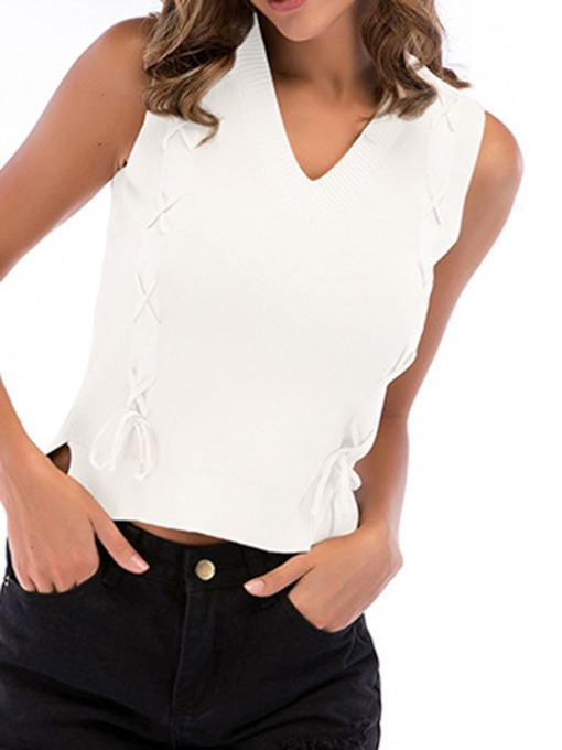 Lace-Up Plain V-neck Women's Tank