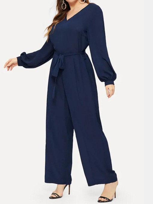Plus Size Office Lady Color Block Full Length Belt Loose Women's Jumpsuit