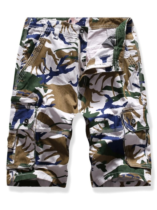 Color Block Straight Camouflage Print Button Mid Waist Men's Shorts
