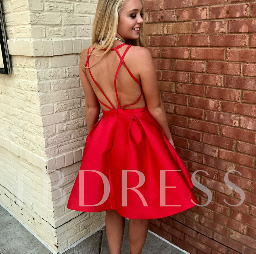 Criss-Cross Straps Short Red Homecoming Dress 2019