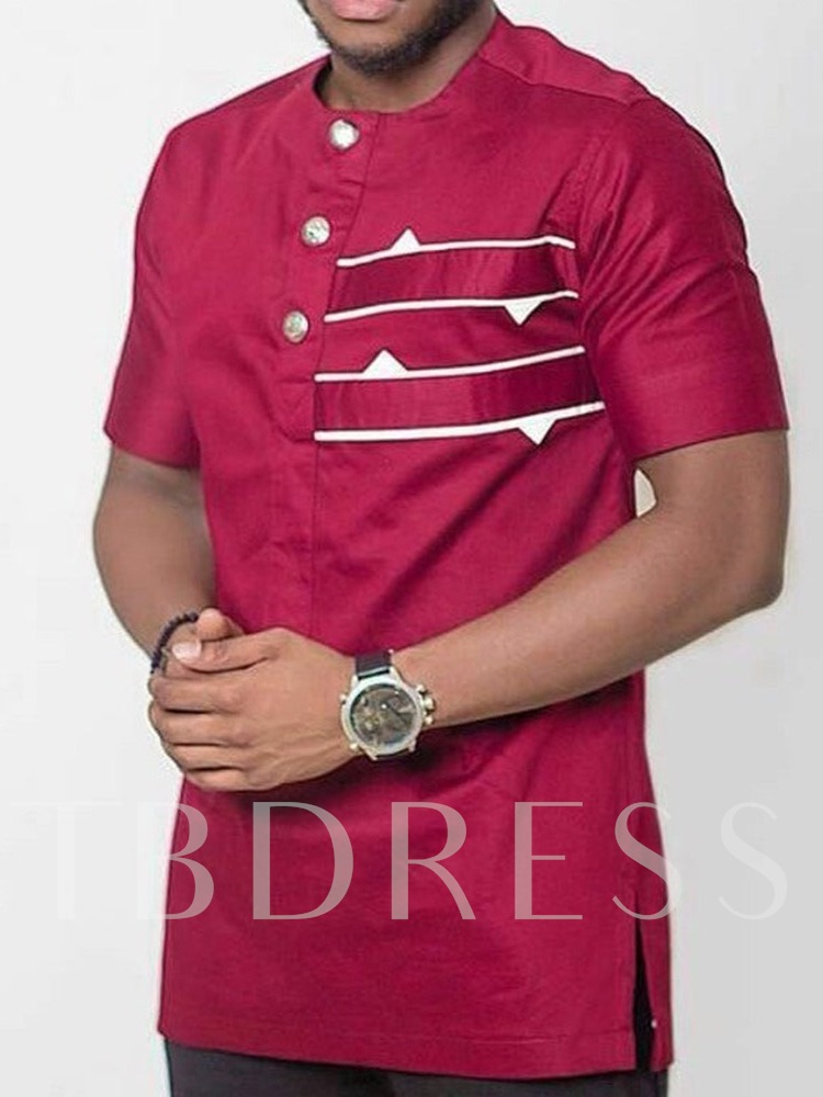 Button Color Block African Fashion Casual Loose Men's T-shirt