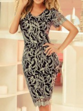 Patchwork Sleeveless Bodycon Women's Day Dress