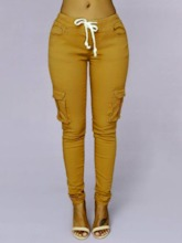 Plain Skinny Pocket Mid-Waist Women's Casual Pants