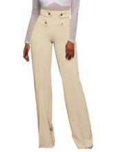 Button Slim Plain High Waist Women's Casual Pants