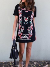 Embroidery Round Neck Short Sleeve Women's Day Dress
