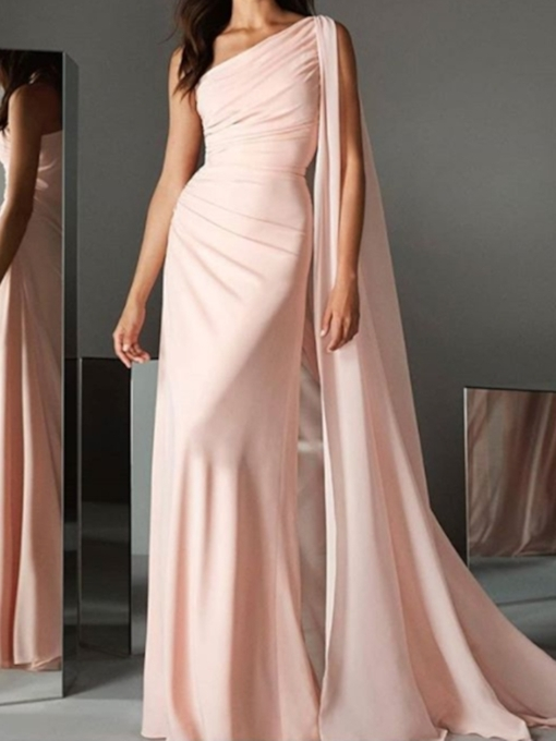 Floor-Length Trumpet Pick-Ups One Shoulder Evening Dress 2019