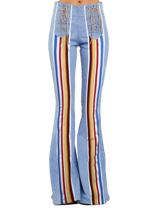Bellbottoms Color Block Washable Slim Women's Jeans