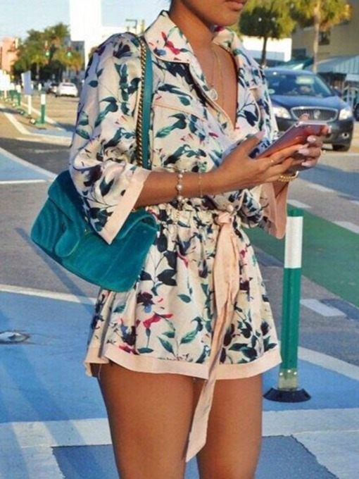 Formal Shorts Print Slim Women's Jumpsuit