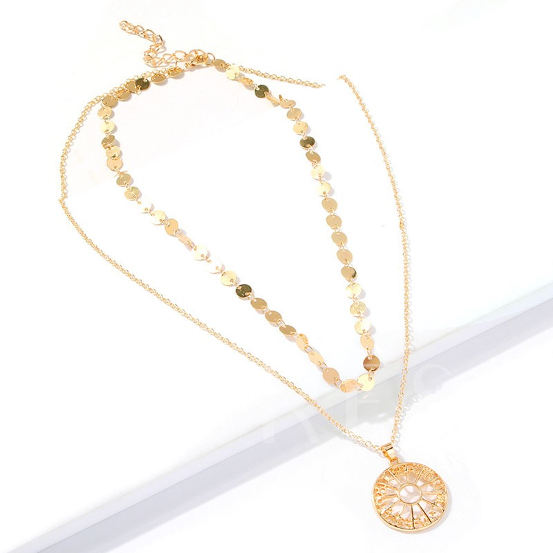 Golden Layered Alloy E-Plating Pendant Necklace