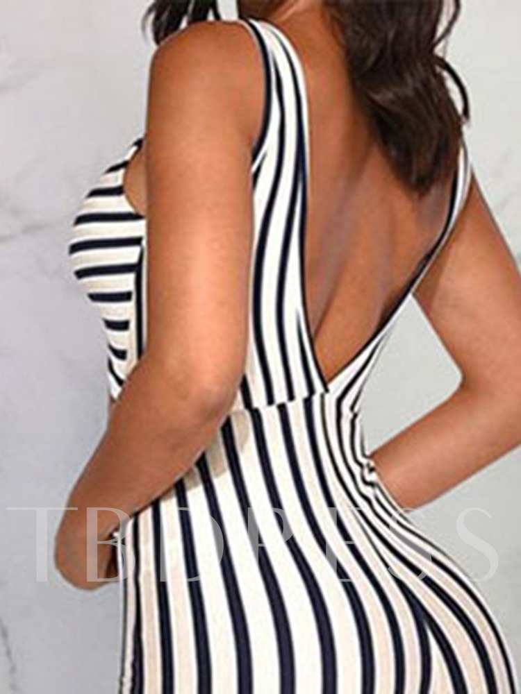 Full Length Stripe Western Slim Women's Jumpsuit