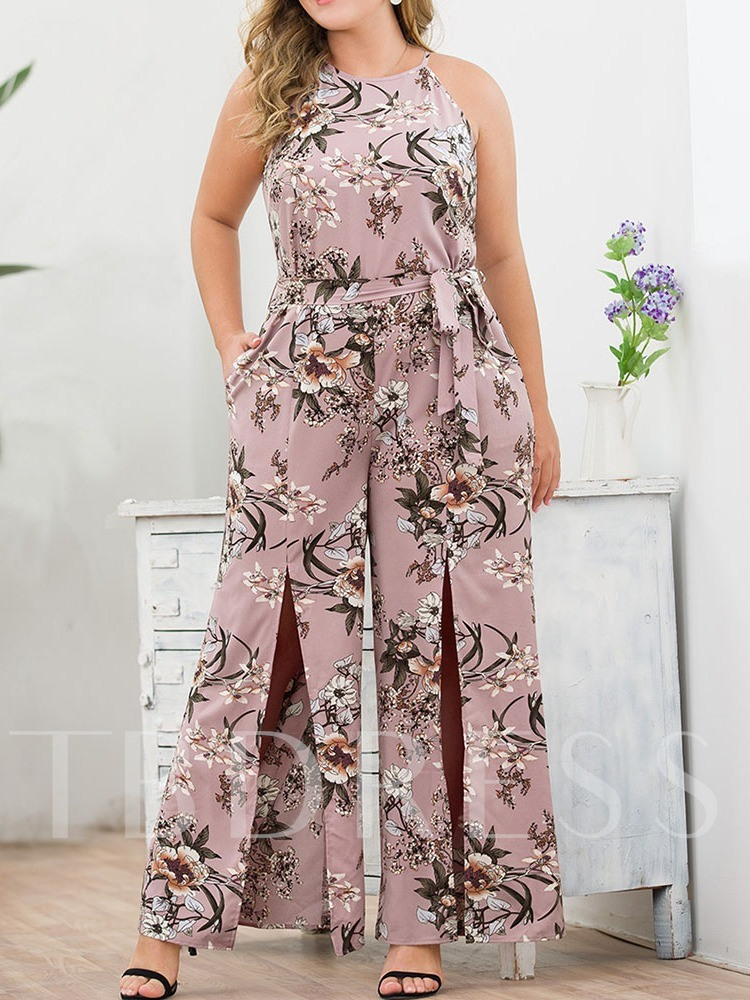 Plus Size Floral Lace-Up Office Lady Full Length Slim Women's Jumpsuit