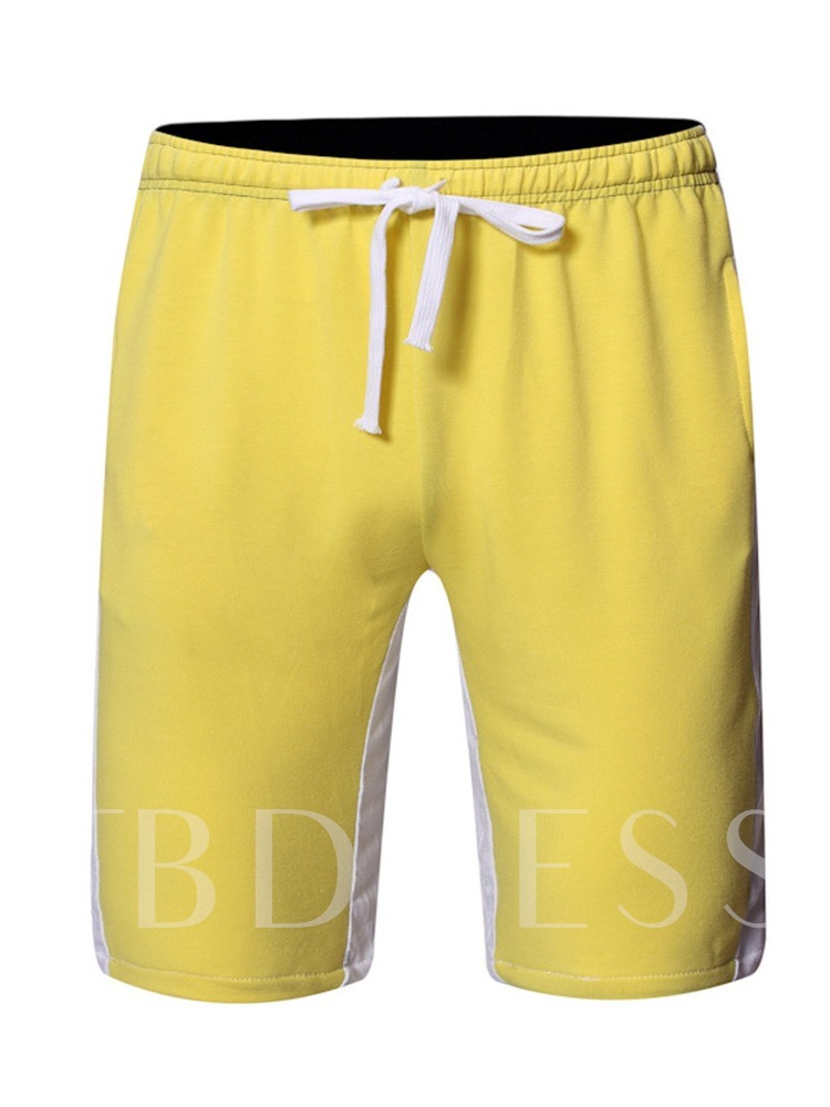 Casual Fahion Color Block Loose Lace-Up Lace-Up Men's Shorts