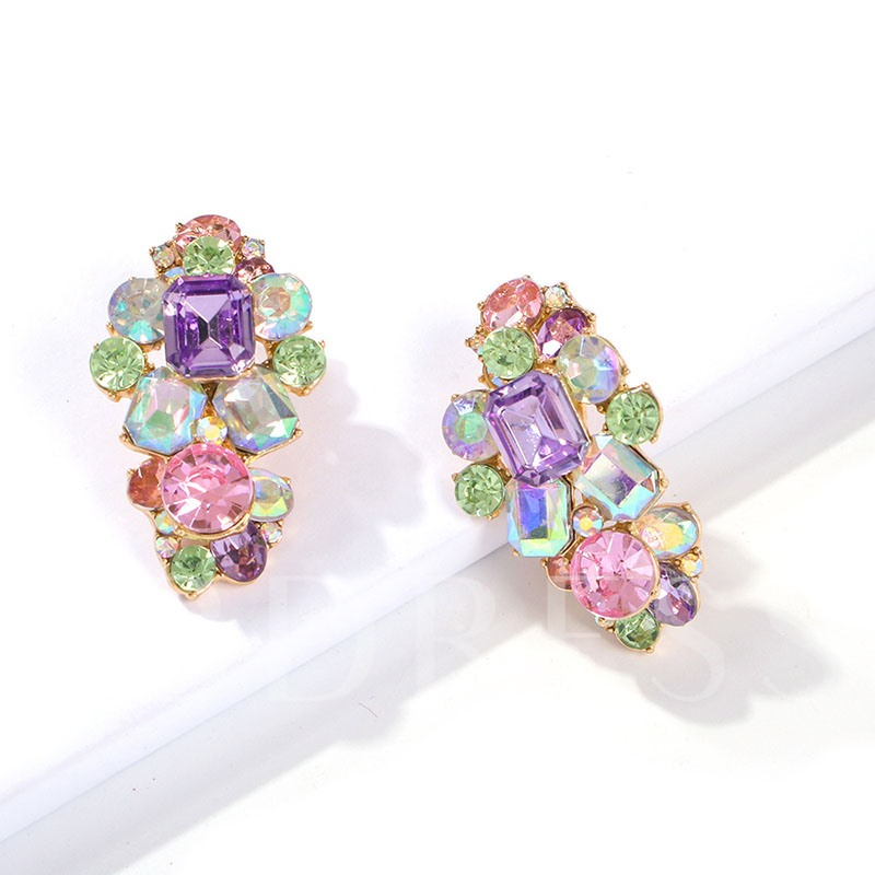Color Block Rhinestone Diamante Party Earrings