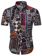 African Fashion Bohemia Style Button Color Block Casual Lapel Summer Men's Shirt