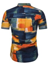 African Fashion Color Block Print Casual Stand Collar Short Sleeves Slim Men's Shirt