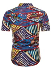 African Fashion Stylish Color Block Button Casual Stand Collar Short Sleeves Slim Men's Shirt