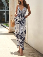 Ankle Length Print Floral Office Lady Loose Women's Jumpsuit