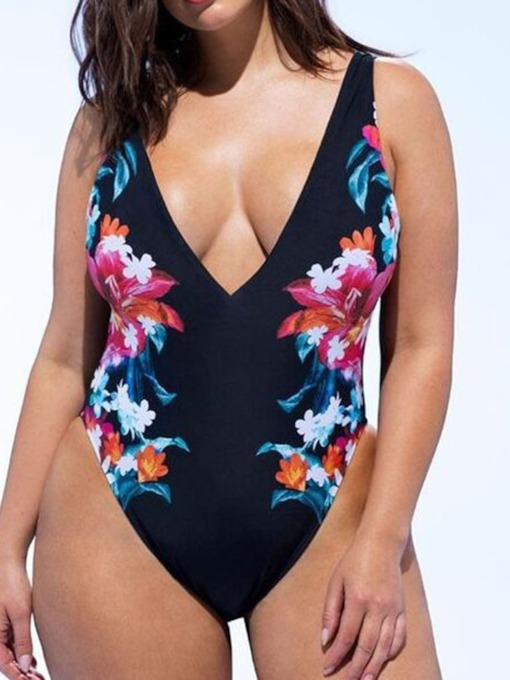 Plus Size One Piece Floral Print Western Women's Swimwear