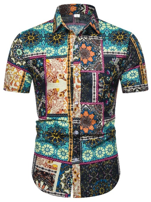 Casual Lapel Floral Button Summer Bohemia Style Short Sleeves Men's Shirt