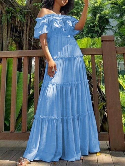 Off Shoulder Falbala Short Sleeve Off Shoulder Women's Maxi Dress