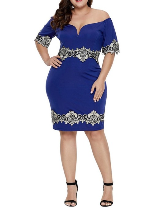 Plus Size Half Sleeve Off Shoulder Patchwork Pullover Women's Dress