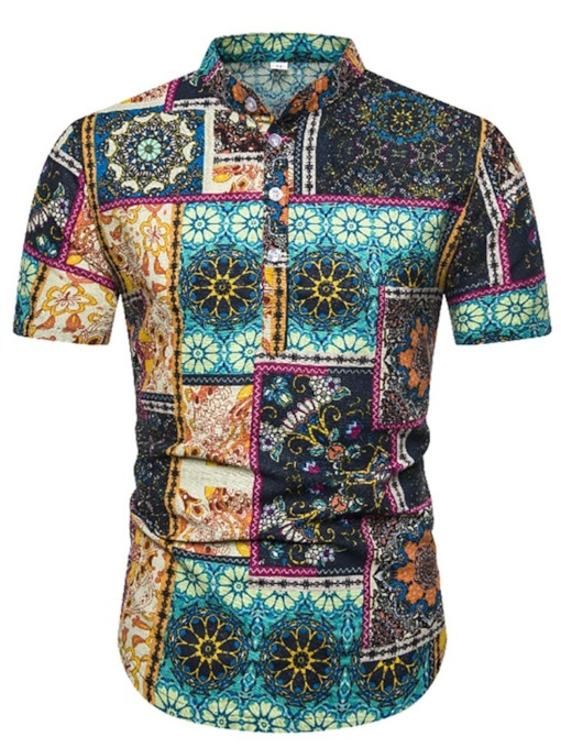 Summer Vacation Short Sleeves Color Block Casual Stand Collar Print Slim Men's Shirt