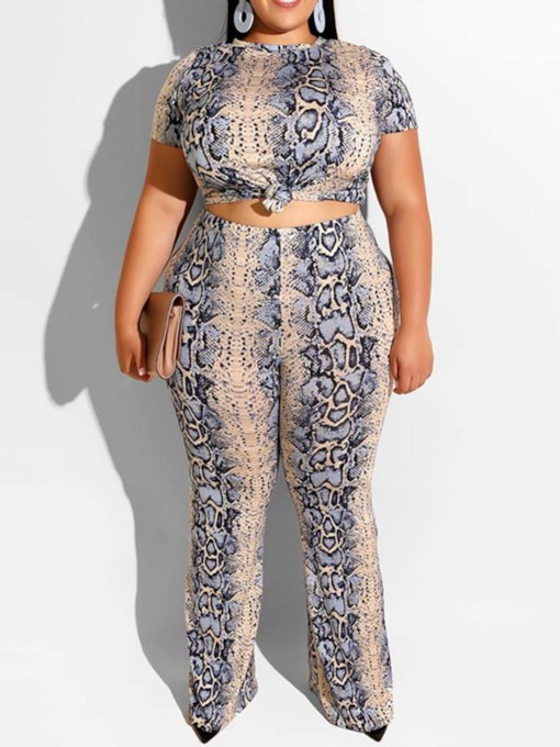 Plus Size Western Print Pants Pullover Women's Two Piece Sets