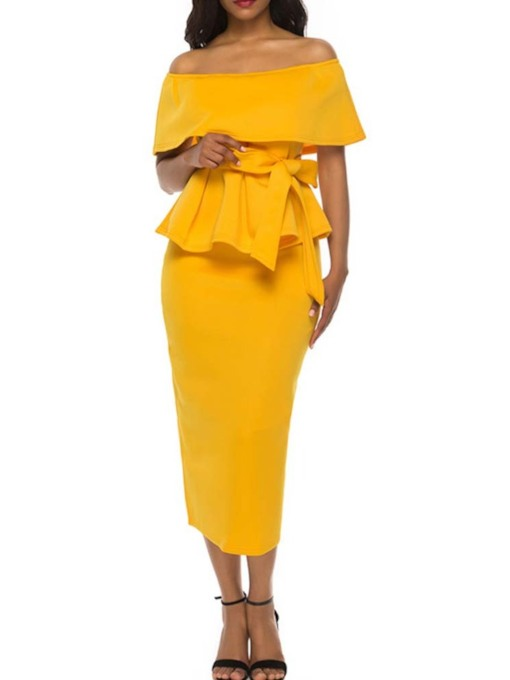 Skirt Falbala Plain Office Lady Off Shoulder Women's Two Piece Sets