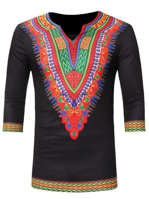 Dashiki Round Collar African Totem Ethnic Printed Slim Fit Men's Shirt