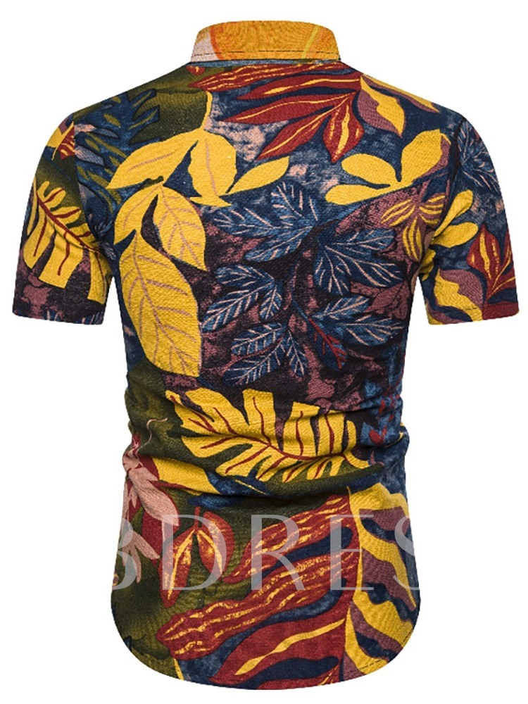Hawaii Style Summer New Print Casual Lapel Plant Summer Short Sleeves Men's Shirt