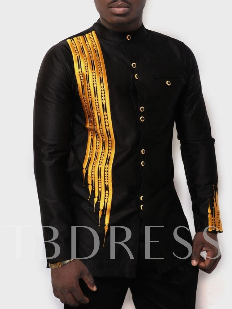 Casual African Fashion Stand Collar Print Color Block Long Sleeve Men's T-shirt