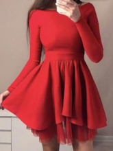 Short A-Line Scoop Long Sleeves Homecoming Dress 2019