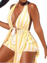 Dress Stripe Backless Travel Look A-Line Women's Two Piece Sets
