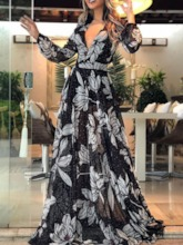 Long Sleeve Print Floor-Length V-Neck Women's Maxi Dress