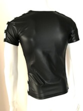 Men's Patent Leather Hollow Short Sleeve Tight T-shirt