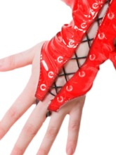 Women's Lace-Up PU Gloves Costume Accessories