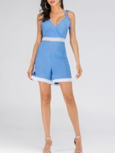 Bowknot Color Block Date Night Shorts Loose Women's Romper