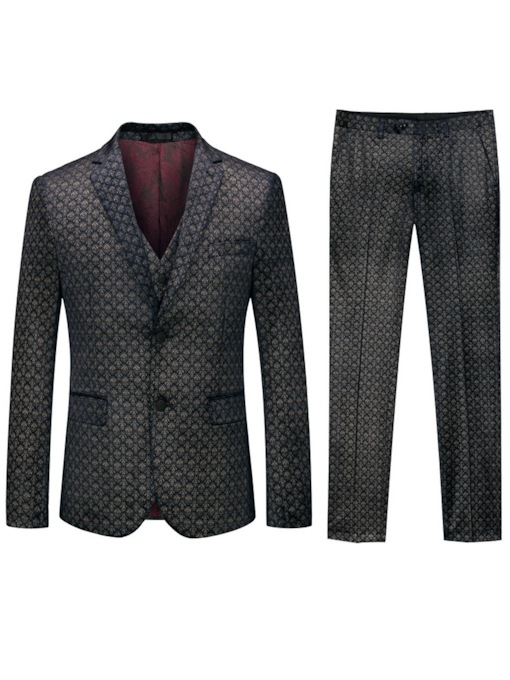 Single-Breasted Plaid Fashion Pants Men's Dress Suit