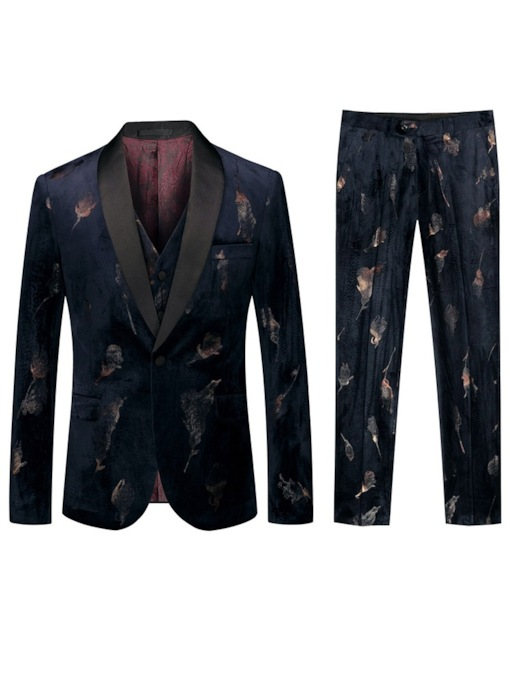Fashion Luxury Suit One Button Pants Pocket Formal Wedding Performances Men's Dress Suit