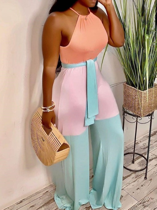 Full Length Color Block Western Patchwork High Waist Women's Jumpsuit