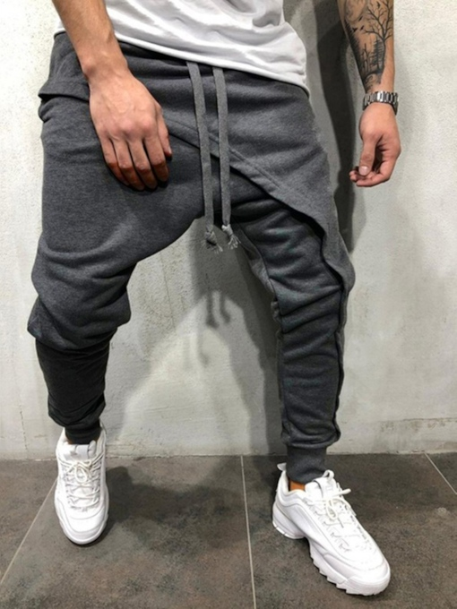 Plain Asymmetric Men's Casual Pants