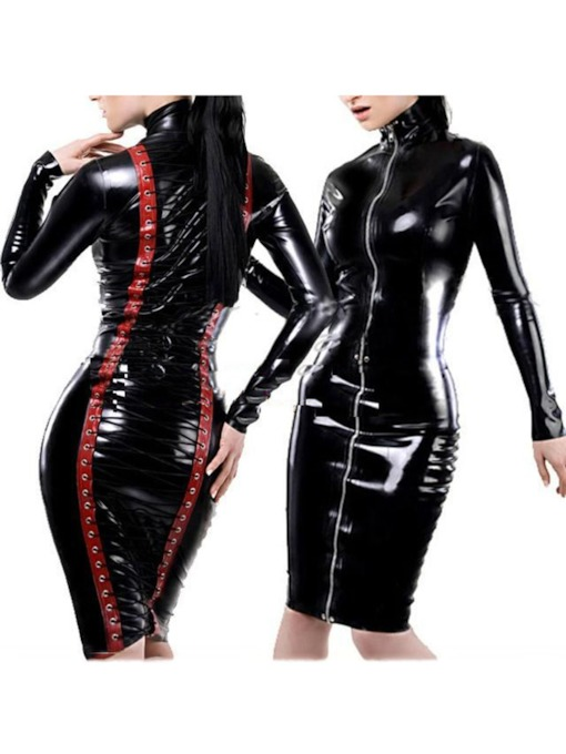 Zipper Lace-Up Long Sleeve Patent Leather Sexy Costume